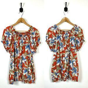 Chaps Denim 3X Red Floral Cinched Cotton Shirt
